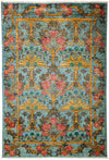 "Arts & Crafts, Blue Wool Area Rug - 4' 2"" x 6' 0"""