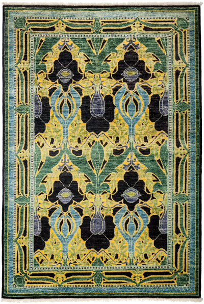 "Arts & Crafts, Yellow Wool Area Rug - 4' 1"" x 5' 10"""