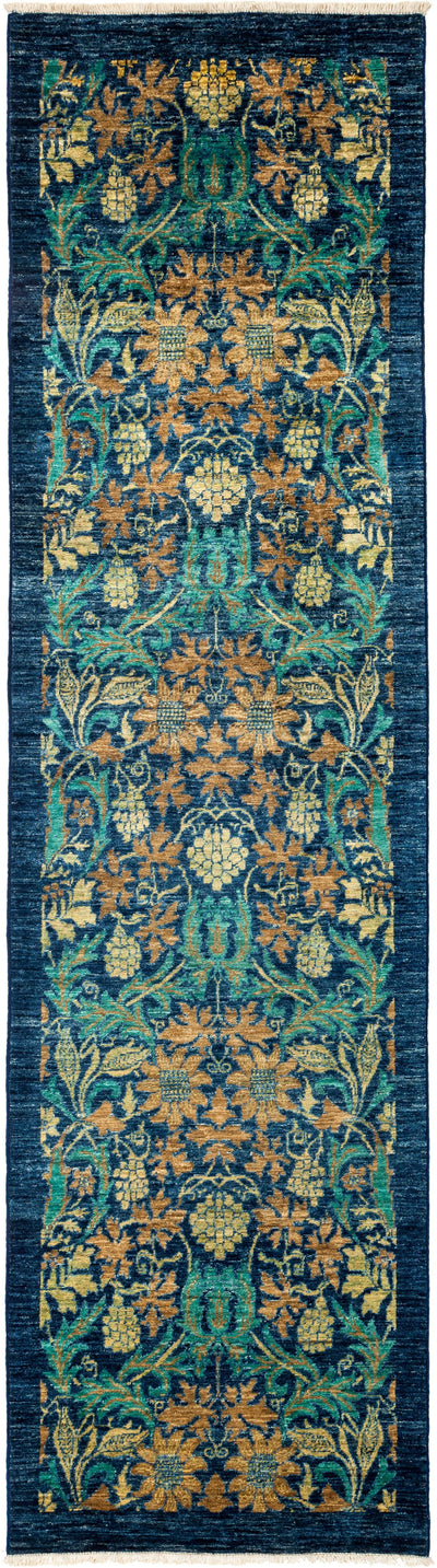 "Arts & Crafts, Blue Wool Runner - 2' 8"" x 9' 7"""