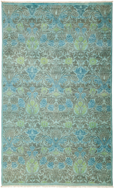 "Overdyed, Blue Wool Area Rug - 5' 3"" x 8' 6"""