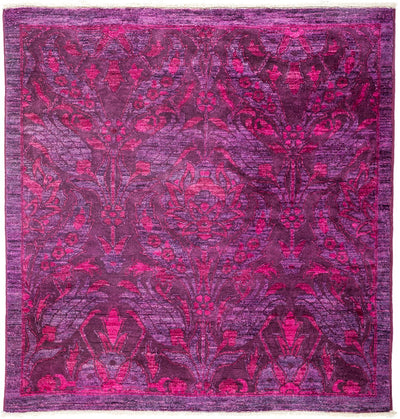 "Overdyed, Pink Wool Area Rug - 4' 1"" x 4' 2"""