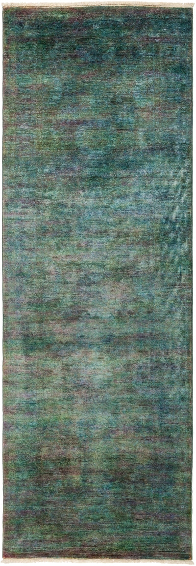 "Overdyed, Green Wool Runner - 3' 0"" x 8' 7"""