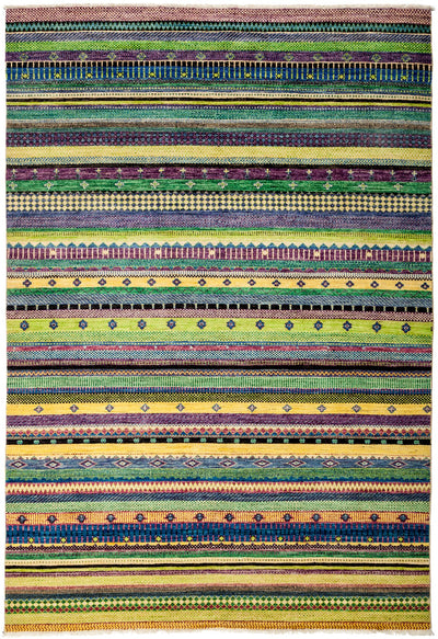 "Tribal, Multi Wool Area Rug - 6' 1"" x 9' 0"""