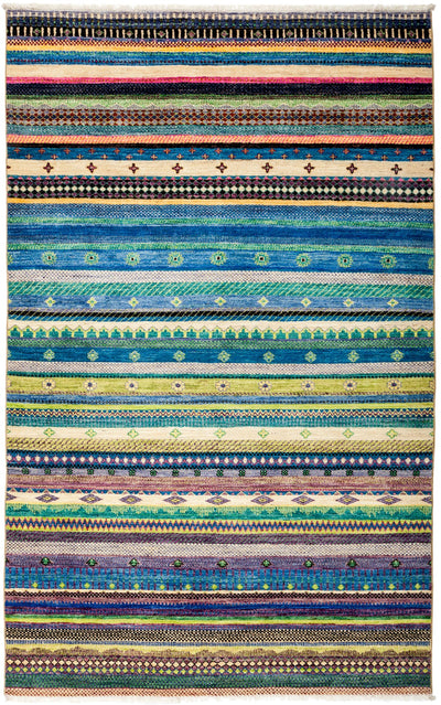"Tribal, Multi Wool Area Rug - 5' 1"" x 8' 3"""