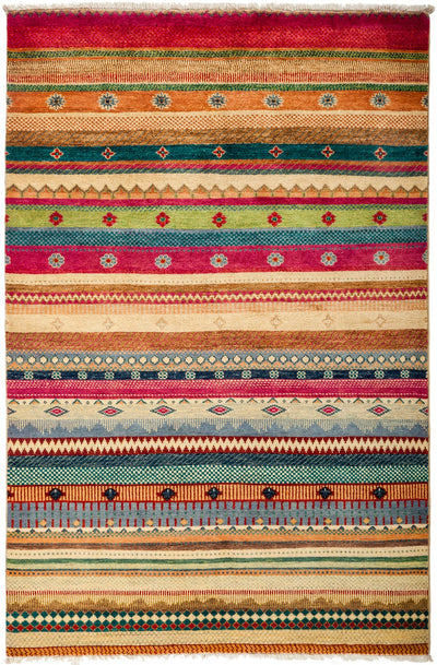 "Tribal, Multi Wool Area Rug - 3' 10"" x 6' 0"""