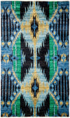 "Ikat, Blue Wool Area Rug - 4' 1"" x 8' 2"""