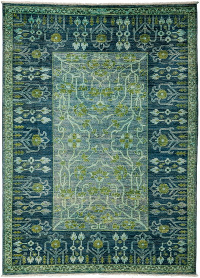 "Overdyed, Green Wool Area Rug - 6' 7"" x 9' 1"""