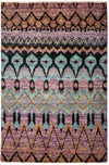 "Ikat, Purple Wool Area Rug - 4' 1"" x 6' 2"""