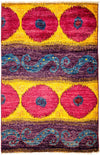 "Ikat, Yellow Wool Area Rug - 4' 1"" x 6' 1"""