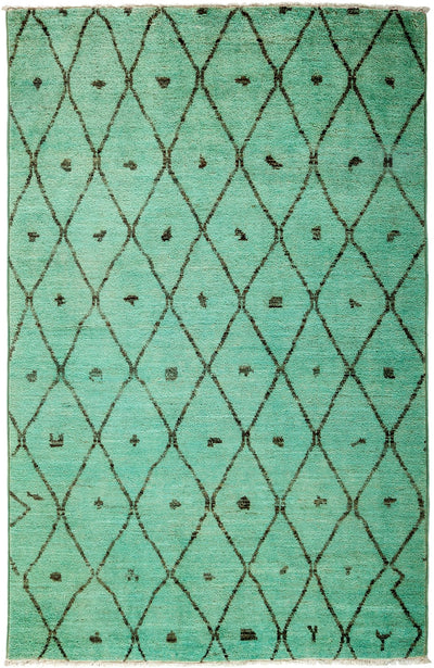 "Moroccan, Green Wool Area Rug - 5' 1"" x 8' 1"""