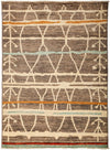 "Moroccan, Brown Wool Area Rug - 5' 4"" x 7' 0"""