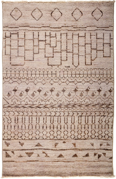 "Moroccan, Pink Wool Area Rug - 3' 10"" x 6' 1"""