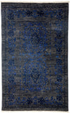 "Overdyed, Blue Wool Area Rug - 3' 3"" x 5' 1"""