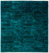 "Overdyed, Blue Wool Area Rug - 6' 2"" x 6' 7"""