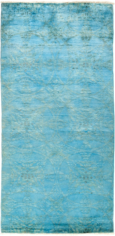 "Overdyed, Blue Wool Area Rug - 4' 0"" x 8' 4"""