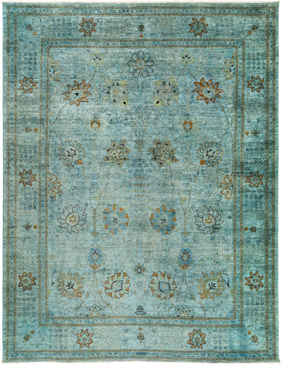 "Overdyed, Blue Wool Area Rug - 9' 1"" x 11' 9"""
