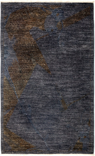 "Overdyed, Gray Wool Area Rug - 3' 2"" x 5' 3"""