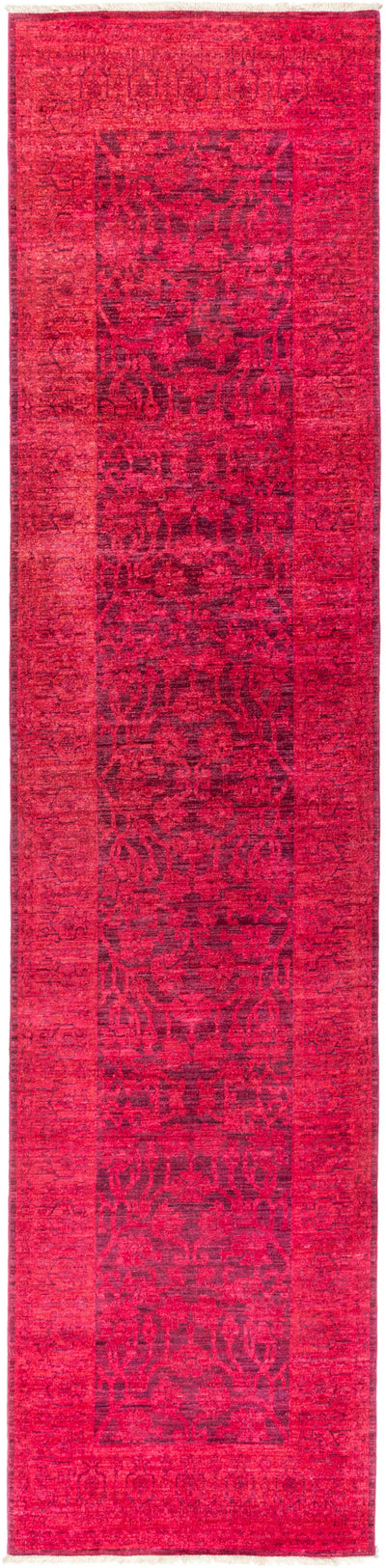 "Overdyed, Pink Wool Runner - 3' 2"" x 13' 10"""