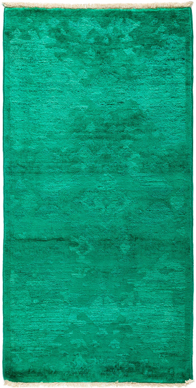 "Overdyed, Green Wool Area Rug - 2' 7"" x 5' 2"""