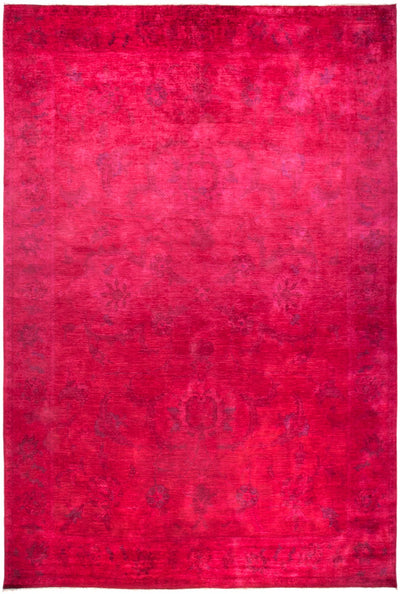 "Overdyed, Pink Wool Area Rug - 11' 10"" x 17' 10"""