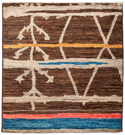 "Moroccan, Brown Wool Area Rug - 4' 3"" x 4' 6"""