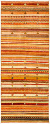"Tribal, Orange Wool Runner - 4' 3"" x 10' 4"""