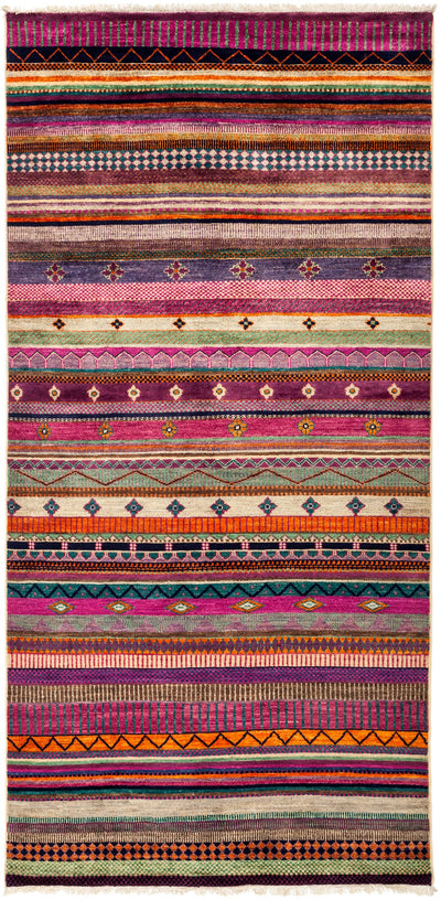"Tribal, Pink Wool Area Rug - 4' 2"" x 8' 1"""