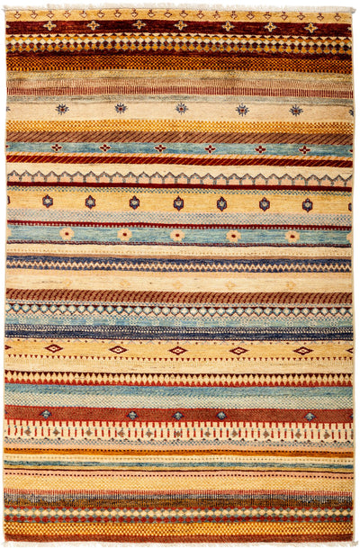 "Tribal, Beige Wool Area Rug - 4' 1"" x 6' 3"""