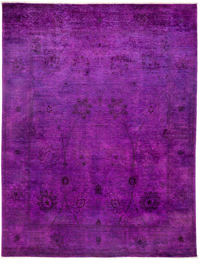 "Overdyed, Purple Wool Area Rug - 8' 0"" x 10' 4"""