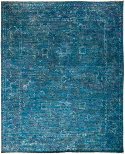 "Overdyed, Blue Wool Area Rug - 8' 2"" x 9' 10"""