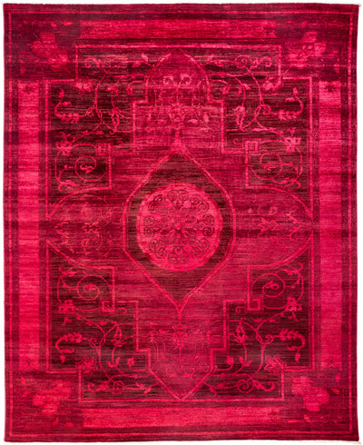 "Overdyed, Pink Wool Area Rug - 8' 0"" x 9' 8"""