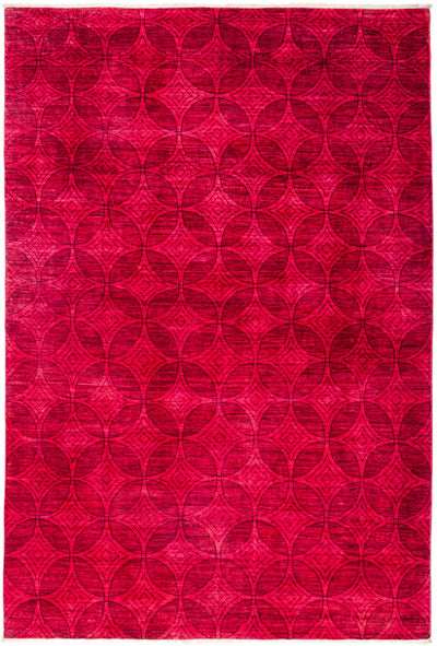 "Overdyed, Pink Wool Area Rug - 6' 5"" x 9' 7"""