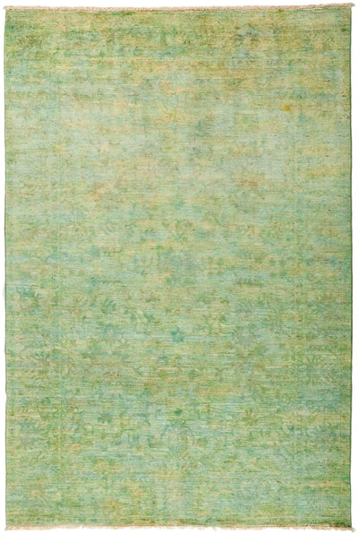 "Overdyed, Green Wool Area Rug - 6' 2"" x 9' 2"""