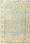 "Oushak, Blue Wool Area Rug - 6'4"" X 8'10"""