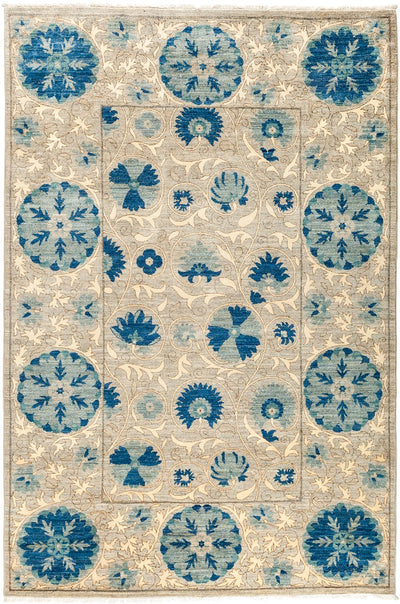 "Suzani, Blue Wool Area Rug - 5'3"" X 7'9"""