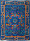 "Modern, Blue Wool Area Rug - 5'4"" X 7'2"""