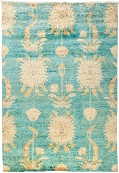 "Suzani, Blue Wool Area Rug - 5'1"" X 7'5"""