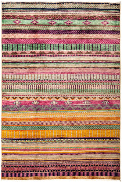 "Tribal, Pink Wool Area Rug - 4'2"" X 6'2"""