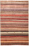 "Tribal, Multi Wool Area Rug - 4'1"" X 6'3"""
