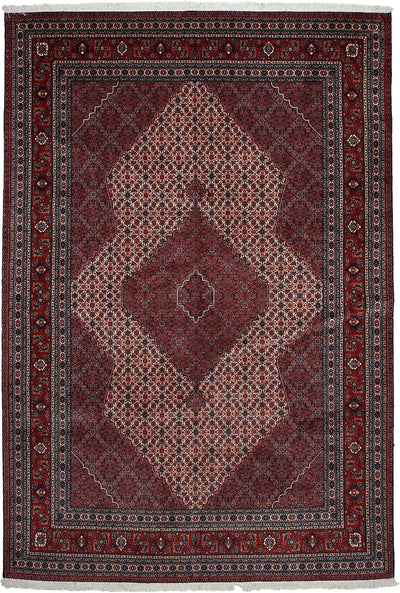"Persian, Red Wool Area Rug - 7' 0"" x 10' 6"""