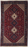 "Classic, Red Wool Area Rug - 5' 0"" x 8' 0"""