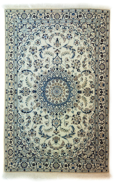 "Persian, Ivory Wool Area Rug - 3' 10"" x 6' 0"""