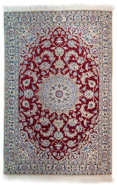 "Persian, Ivory Wool Area Rug - 3' 9"" x 5' 9"""