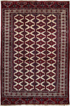 "Classic, Red Wool Area Rug - 7' 7"" x 11' 3"""