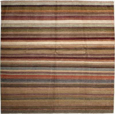 "Monochrome, Brown Wool Area Rug - 8' 2"" x 8' 2"""