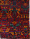 "Modern, Red Sari Silk Area Rug - 8' 0"" x 10' 3"""