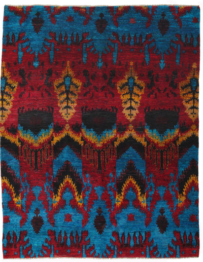 "Modern, Multi Silk Area Rug - 7' 10"" x 10' 1"""