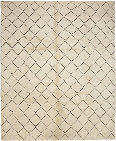 "Moroccan, Ivory Wool Area Rug - 8' 4"" x 10' 3"""