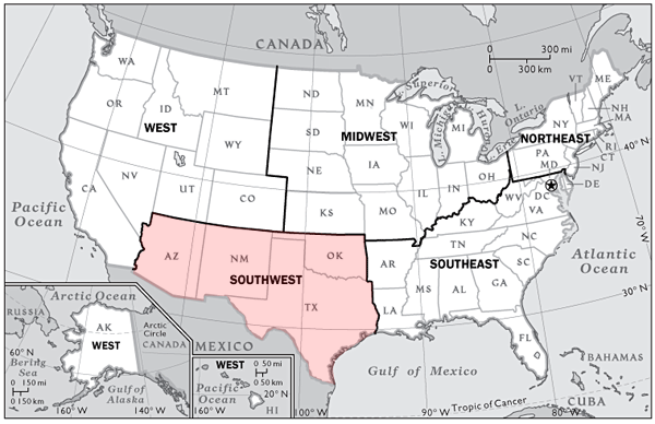 Map Us Southwest Maps Of USA US Southwest Regional Wall Map By
