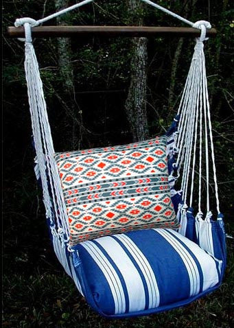 Magnolia Casual Marina Stripe Swing Set w/ Tribal Pillow